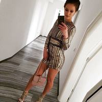 O Neck Full Sleeved Sequined Belt Rope Party Dress Bodycon Patchwork Gold Gliter Mini Dresses Evening