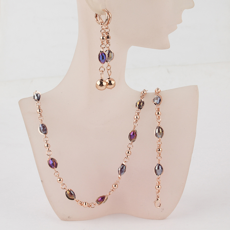 Free Shipping Fashion Women's Gold-color Purple Austrian Crystal Necklace Bracelet Earrings Wedding/Bride Jewelry Sets Gift
