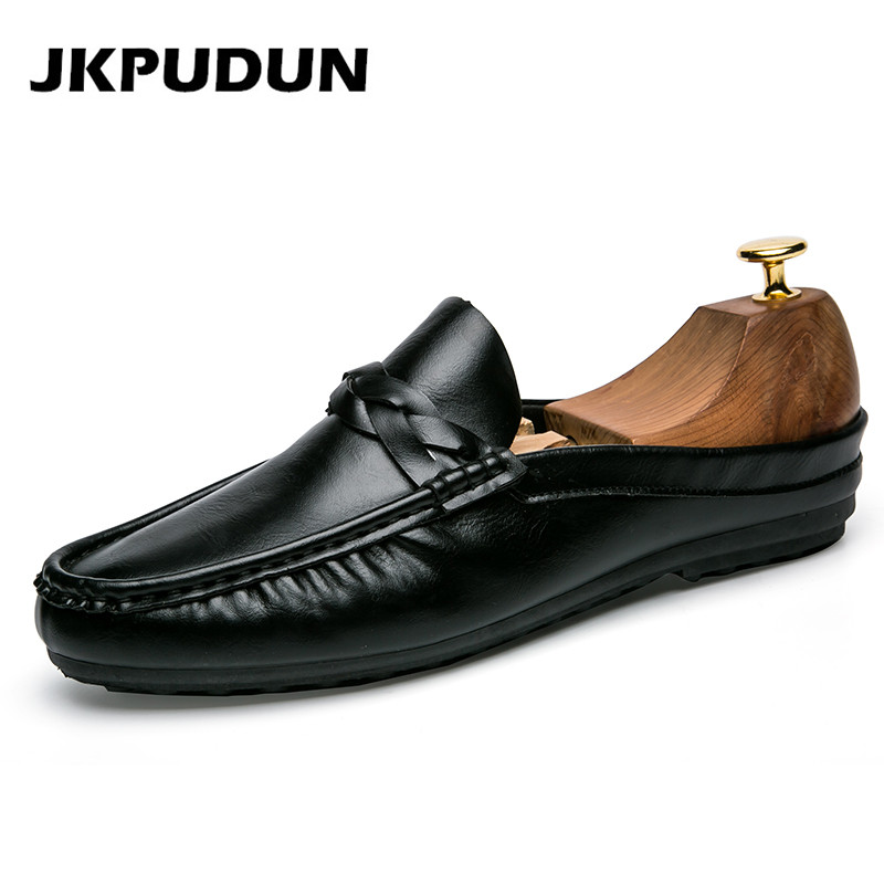 JKPUDUN Summer Half Shoes For Men Penny Loafers Italian