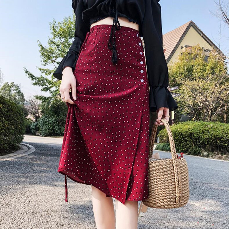 2018 France brand fashion style women knee length Skirt Button chiffon Slim 3 colors dot Skirt