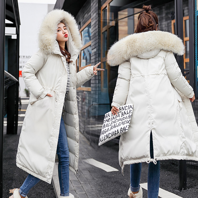 QIHUANG Fashion Big Fur Collar Hooded Long Women's   Down     Coat   Winter Thicken High Quality   Down   Cotton Padded Women   Down   Jacket