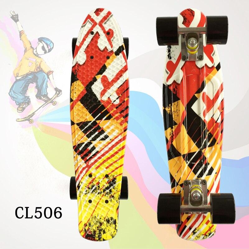 1 PC rue Graffiti Style impression motif planche à roulettes complet 22 pouces rétro Cruiser Longboard adulte planche à roulettes