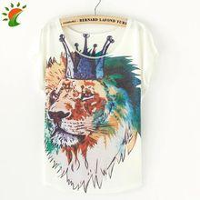 2016 Harajuku Summer T-shirt Women Batwing T Shirt Female Ladies Tops Print Crown Lion Brand Clothing Brand T-shirt