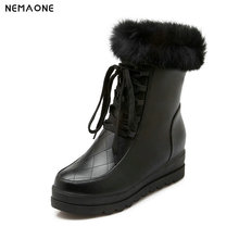 NEMAONE Warm Fur Women Snow Boots Platform Winter Shoes woman Ankle Boots Female Fashion lace up Basic Snow Casual Shoes
