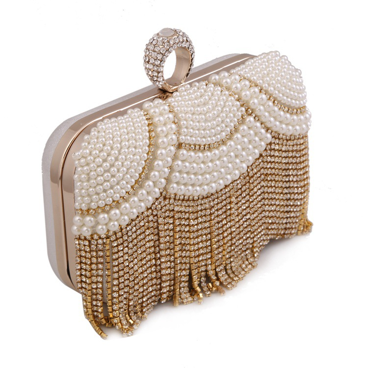 Mini Evening Clutch with Luxury Tassel and Pearls for Ladies, Beaded Evening Day Clutch with Removable Chain free shipping imitation pearls chain flatback resin material half pearls chain many styles to choose one roll per lot