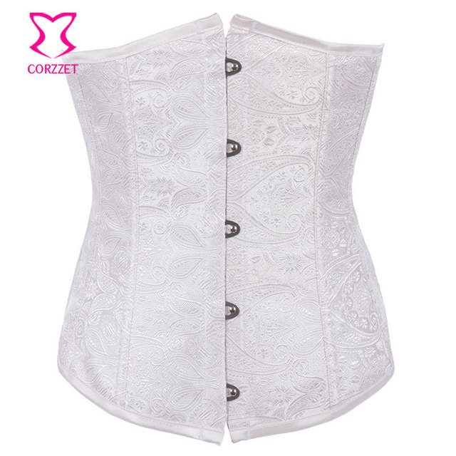 0110448c2ea Gothic Sexy Underbust Corsets And Bustiers White Corset Wedding Korset Top  Women Waist Trainer Corpetes E