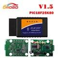 Leitor de código de Ferramenta de diagnóstico ELM327 V1.5 OBD2 II Com PIC18F25K80 Chip Bluetooth Car Diagnóstico Scanner Funciona Em Android Torque