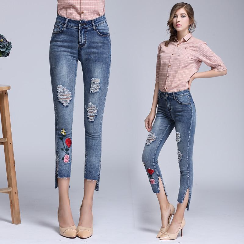 Jean Skinny Slim Pantalon 1 Brodé Percé Push Pieds Grande Dtynz Haute Maigre Up Femme Taille Jeans Xq6wO7BO