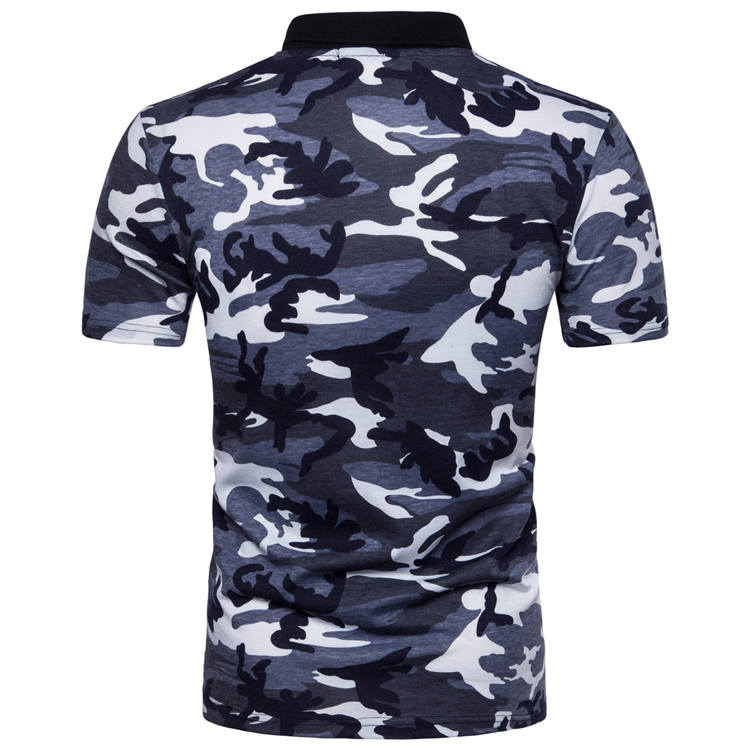 Men's Top Regular Gradient Print Breathable Cotton Short Sleeve 2018 Spring And Summer New Casual Camouflage Polo Shirt 43
