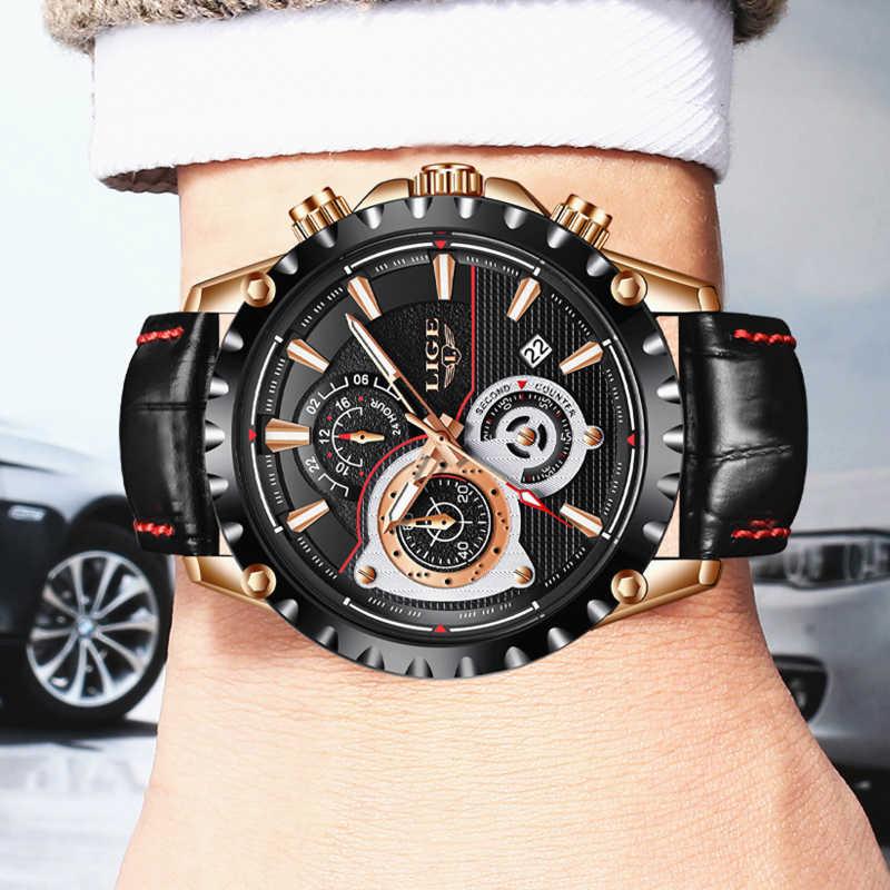 Lige mens 시계 탑 브랜드 럭셔리 쿼츠 골드 시계 남성 캐주얼 가죽 밀리터리 방수 스포츠 손목 시계 relogio masculino