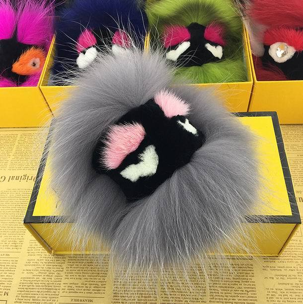 20cm Real Fox Fur Pom Poms Bag Bug Little Monster Bag Bugs Charm Genuine Mink Fur Pompom Keychain Bag Charm Car Luxury Pendant