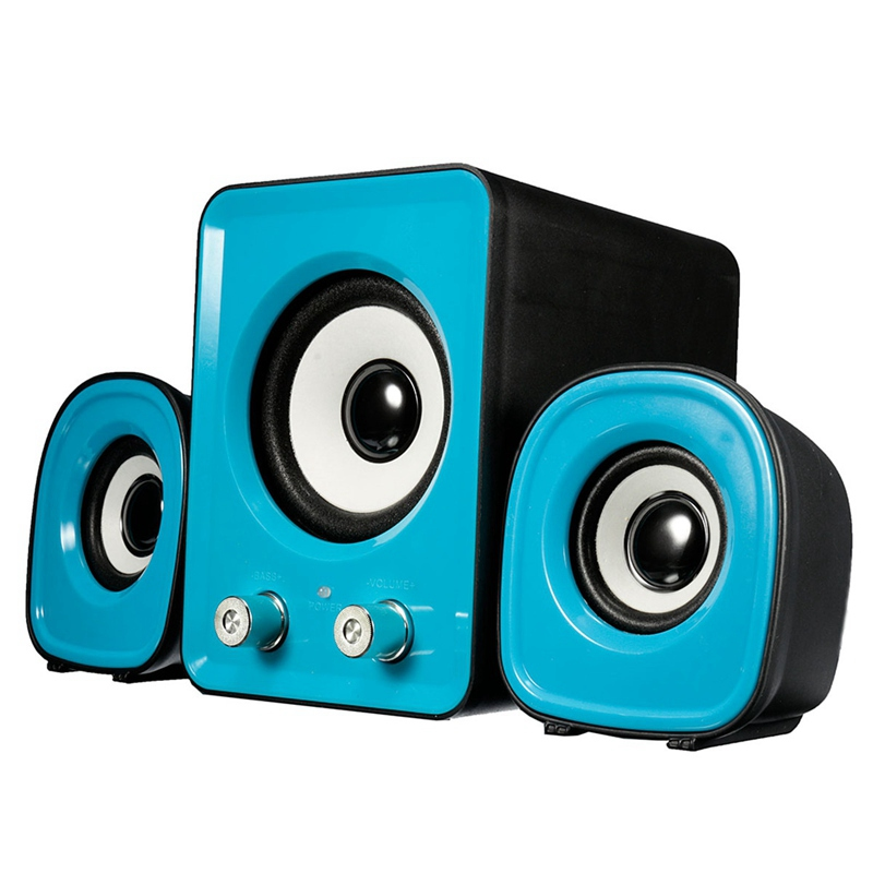 1Set Mini Blue/White Computer PC Speaker 2.1 Multimedia Stereo Desktop Portable USB Subwoofer 1 Main Speaker+2 Small Speaker