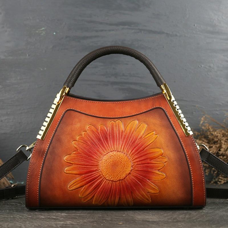 2019 New Luxury Women Genuine Leather Handbags Ladies Retro Elegant Shoulder Messenger Bag Cow Leather Handmade