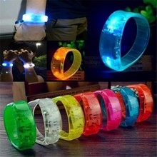 7Colors Party Rave Concert Voice Control LED Light Bracelet Bangle Sound Activated Glows in The Dark Decoration