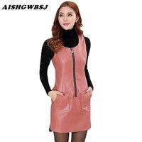 AISHGWBSJ Plus Size Overalls Lady Work Dress Women's Faux Leather PU Overalls Dresses Slim Solid Autumn Sleeveless Dress QYX168