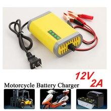 12V 2A akıllı araba motosiklet pil şarj cihazı tam otomatik LED ekran 12V Volt Moto oto kurşun asit AGM jel akümülatörler