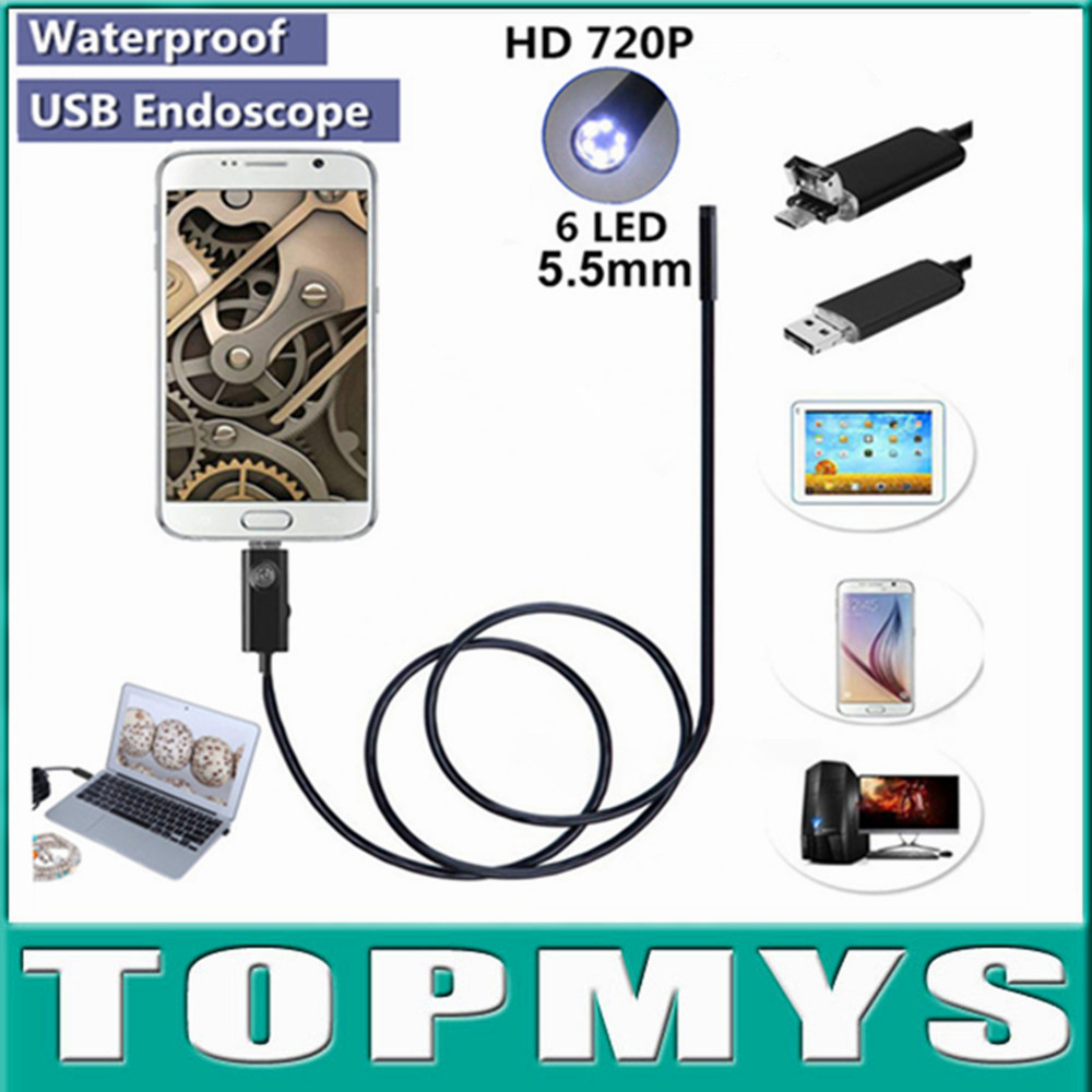 Free Shipping 6LEDs 5.5MM USB Endoscope Camera TM-HTA55 720P with 3 Accessaries Waterproof andriod Inspection Borescope Camera люстра leds c4 margaritaville 20 2225 t1 55