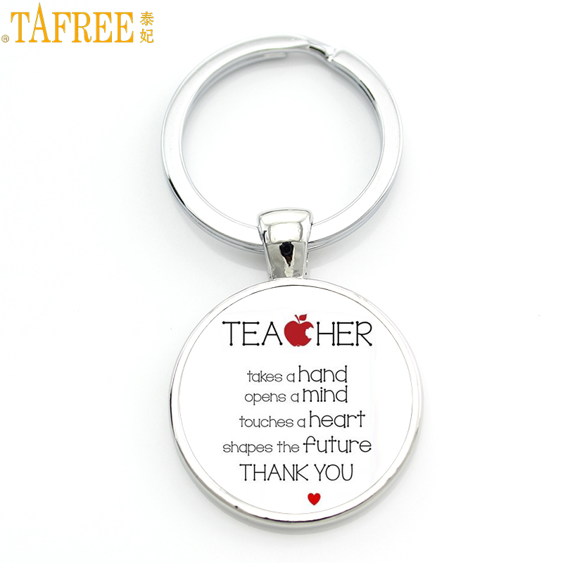 TAFREE Gift For The Teacher Day Keychain The Best Teacher Present Cut Car Key Chain Ring Holder For Men And Women Jewelry CT671