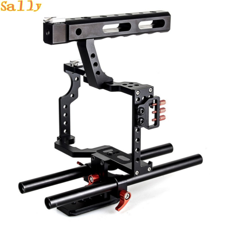 DSLR Rod Rig Camera Video Cage Kit & Handle Grip for Sony A7 A7r A7s II A6300 For Panasonic GH4 yelangu aluminum alloy camera video cage kit film system with video cage top handle grip matte box follow focus for dslr