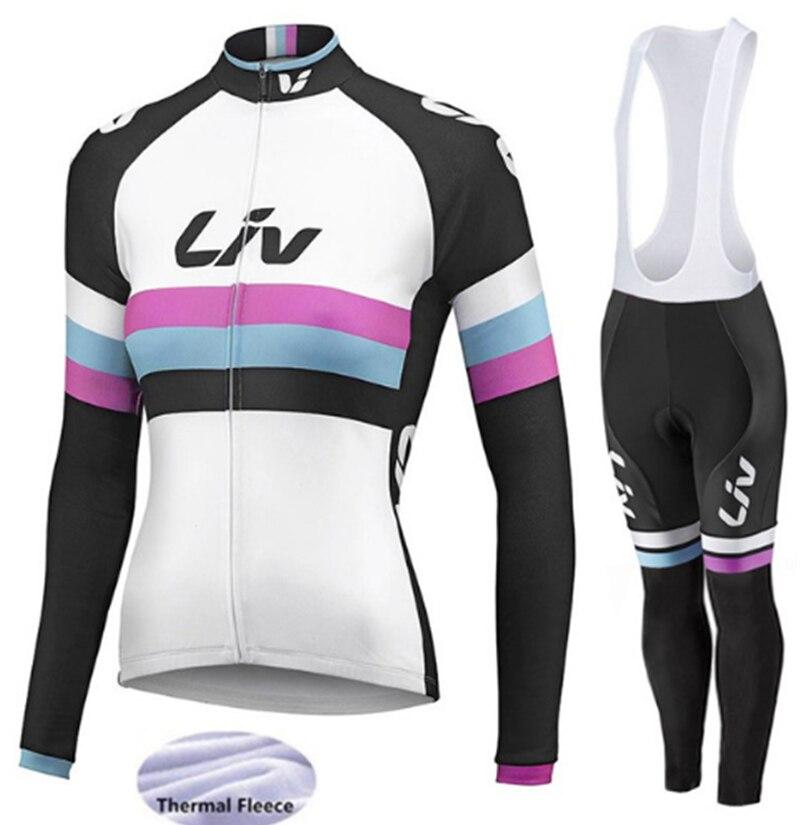 2018 chaud Liv hiver thermique polaire à manches longues cyclisme Jersey ensemble vêtements vélo vêtements porter vtt vélo Maillot Ropa Ciclismo