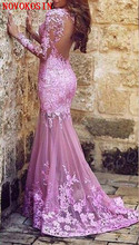 New Arabic Sexy Pink Sheer Long Sleeves Lace Mermaid Evening Dresses Tulle Lace Applique Seen Through Back Formal Party Gown цены онлайн