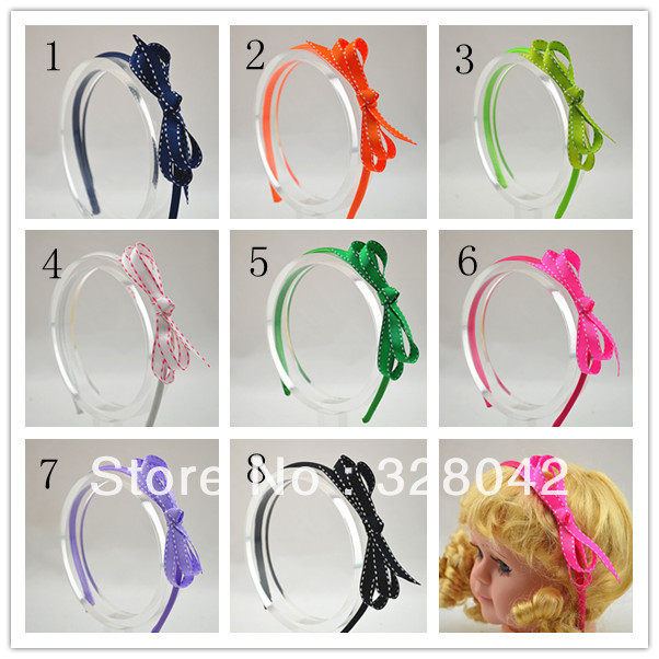Trail order 8 colors baby girl Grosgrain Ribbon bow hairband party bows headbands hair accessory 30pcs/lot