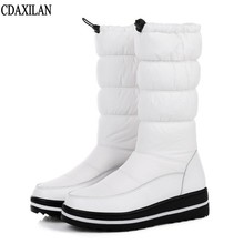 CDAXILAN new arrival snow boots women down white thickened plush warmth legs mid-calf mid heel wedge shoes ladies