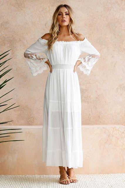 de8be2c84008 Plus Size 2019 Summer Sexy Off the Shoulder lace Casual Beach Dress women  Bohemia Boho white wedding party Long Maxi Dresses