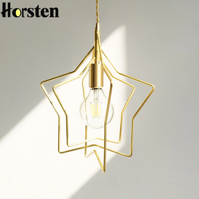 Horsten Nordic Star Pendant Light Modern Creative Golden Hanging Lamp Home Fixtures Lighting for Cafe Bar Dinning Room classic plaid pattern shirt collar long sleeves slimming colorful shirt for men