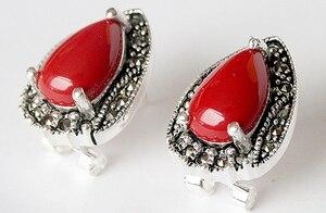 Винтажные серьги-гвоздики из стерлингового серебра 925 пробы красного кораллового цвета 15x19мм