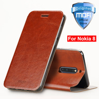 For Nokia 8 Case Cover Leather Flip Stand Coque Mofi Luxury Folio Protective Back Silicone Front