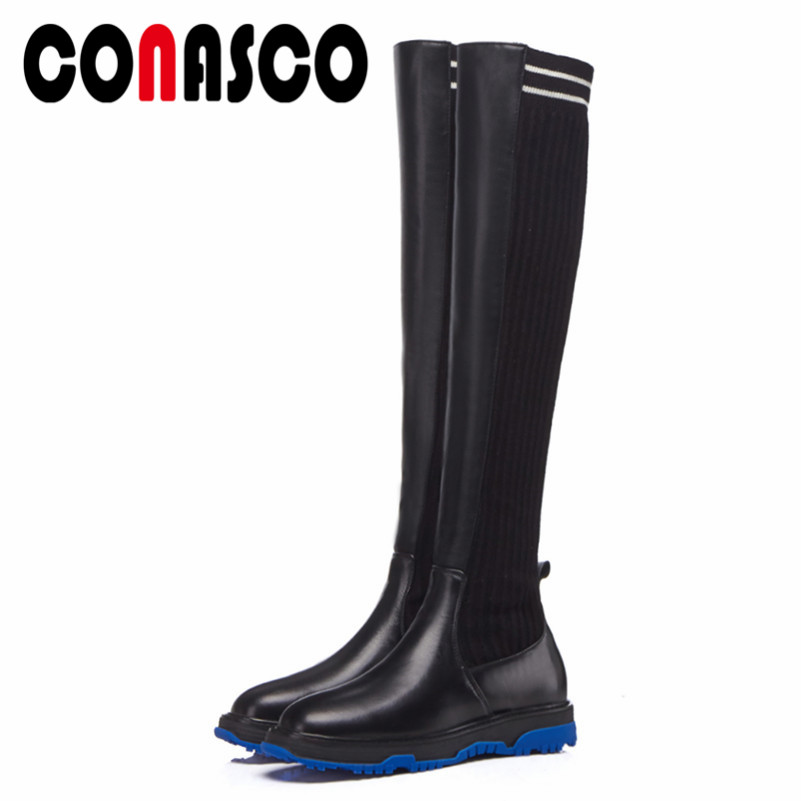 CONASCO Fashion Women Over The Knee High Boots Wedges Heels Platforms Long Warm Shoes Woman Brand Dancing Shoes Tight High BootsCONASCO Fashion Women Over The Knee High Boots Wedges Heels Platforms Long Warm Shoes Woman Brand Dancing Shoes Tight High Boots