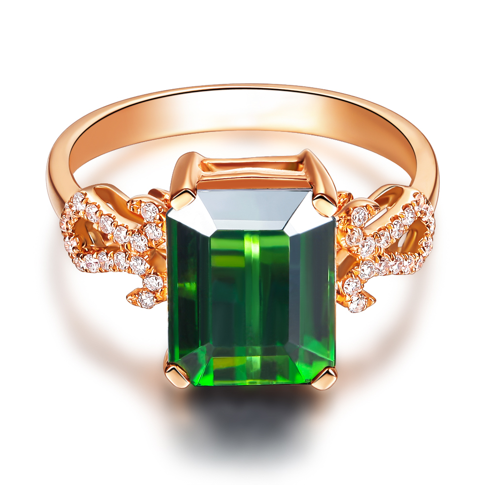 Luxury Clic Gvbori 18k Gold Natural Emerald Green Gemstone Wedding Ring Diamond For Women Fine Jewelry Valentine In Rings From Accessories