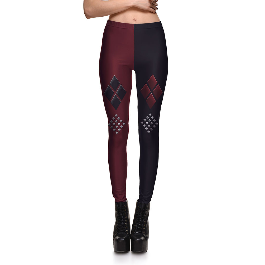 Harley quinn black and red leggings plus size hot dc harley quinn suicide squad spandex leggings