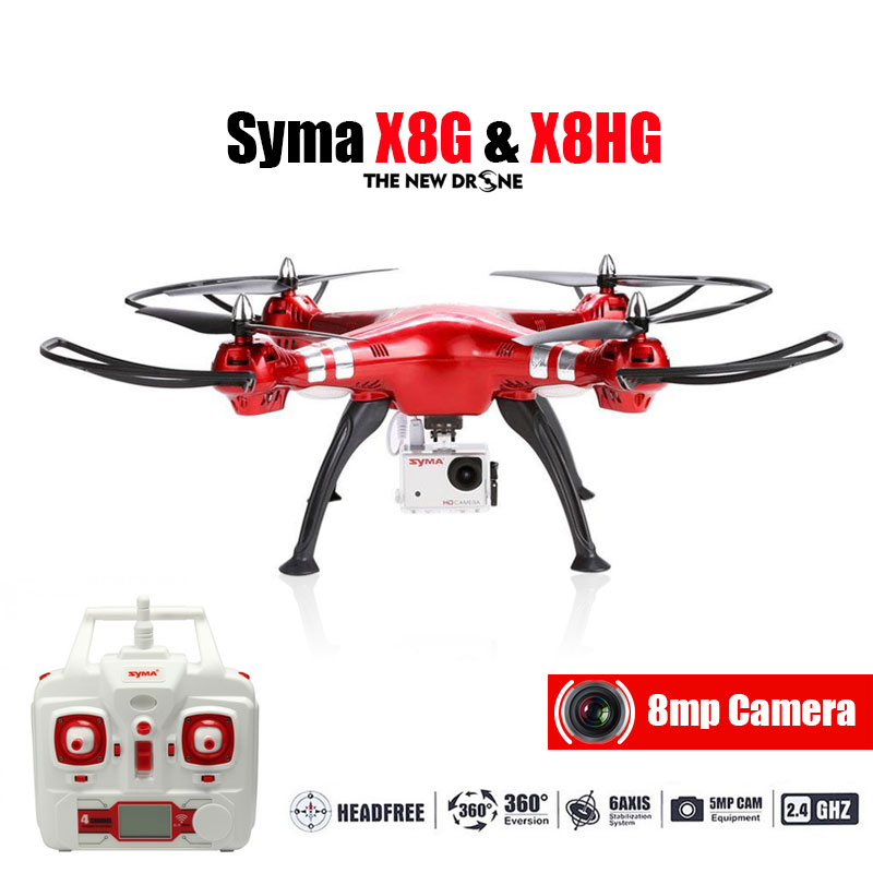 Professional Drone Syma X8HG 2.4G 4ch 6 Axis with 8MP Wide Angle Hd Camera RC Quadcopter RTF Altitude Hold Mode RC Helicopter jjrc rc helicopter 2 4g 4ch 6 axis gyro rc quadcopter rtf air press altitude hold with lcd hd camera rc drone dron hover copters