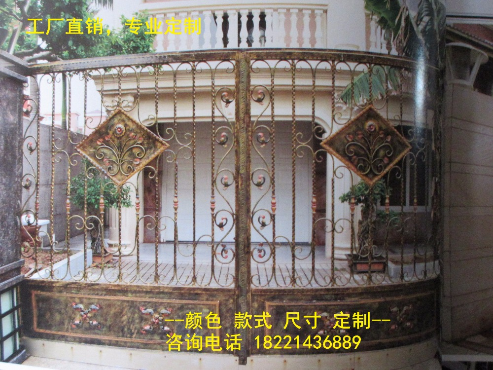 Custom Made Wrought Iron Gates Designs Whole Sale Wrought Iron Gates Metal Gates Steel Gates Hc-g70
