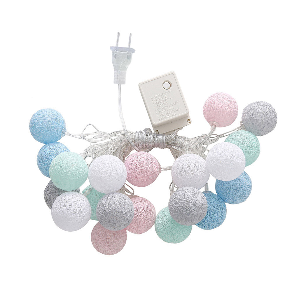 Hot 3.55m 20 LEDs String Lights Cotton Thread Balls Home Decoration Lamp For Party Wedding US/EU Plug XJS789