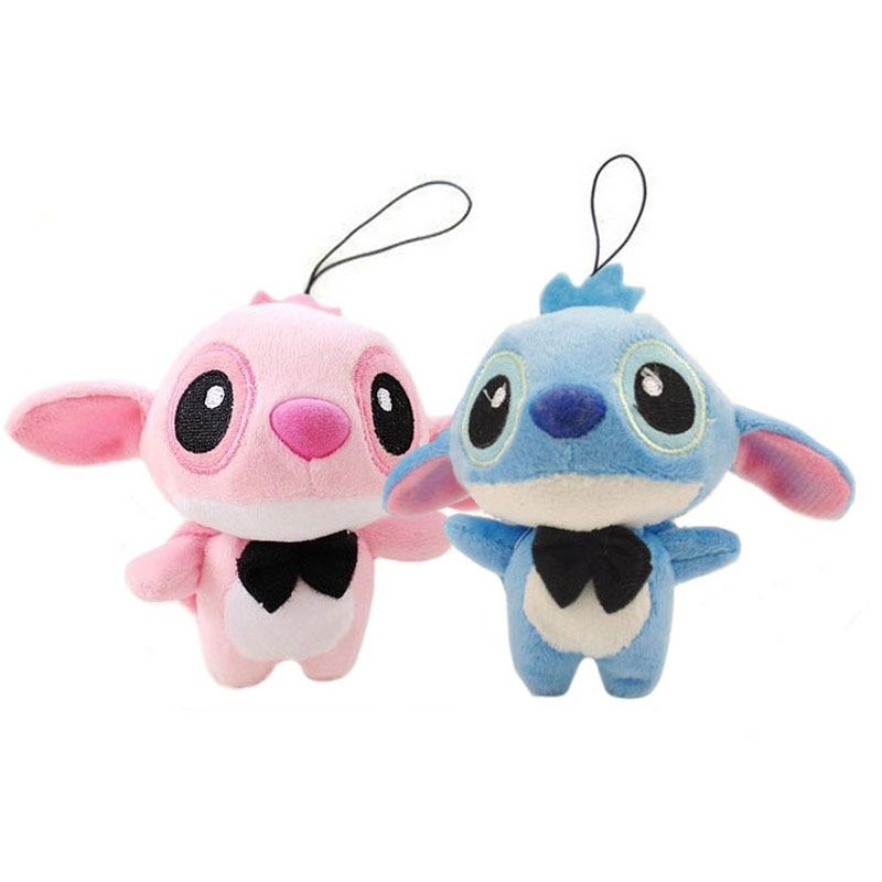 11cm Lovers Lilo Stitch Plush Stuffed Toy Doll String Rope Toy Wedding Bouquet Plush Toy Gift B1010