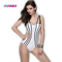 New Sexy Stripe Halter Swimwear Hot Popular Women One Piece Swimsuit Fashion Beachwear Bathing Suit Tide