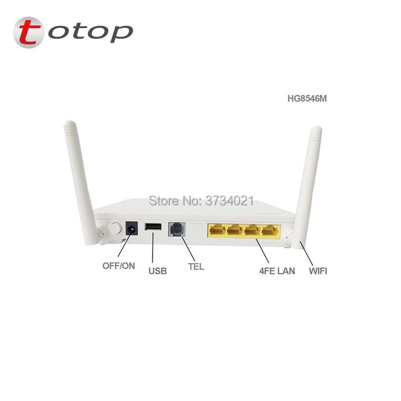 Free shipping Hua wei HG8546M Gpon ONU WiFi Ont onu 2POTS+4FE+1USB+WiFi modem with English software Telecom Network Equipment
