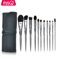 MSQ 11 PCS Goat Goat Hair Eyeshadow Makeup Brushes Set Pro Silver Eyeshadow Blending Make Up