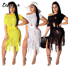 цена на Echoine Summer Beach Knitting Hollow Out Tassel 2 Piece Outfits Women Asymmetry knit Crop Top And Hole Two Piece Skirt Sets