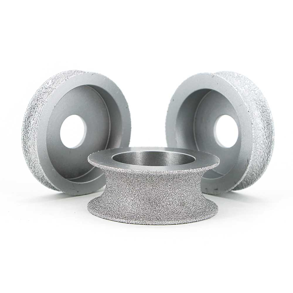 3 Brazed diamond concave grinding wheels for grinding quartz stone, marble, granite, ceramic, artificial stone and glass GJ019 new 2pcs 3 durable artificial gum rubber swivel wheels caster industrial castor univeral wheel silence heavy casters