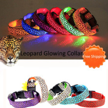 Adjustable Pet Cat Dog Glow LED Flashing Safety Collar Light Up Luminous LED Nylon Neck Strap Leopard Dog Collars 100pcs/Lot adjustable 2 mode led flashing dog collar belt orange