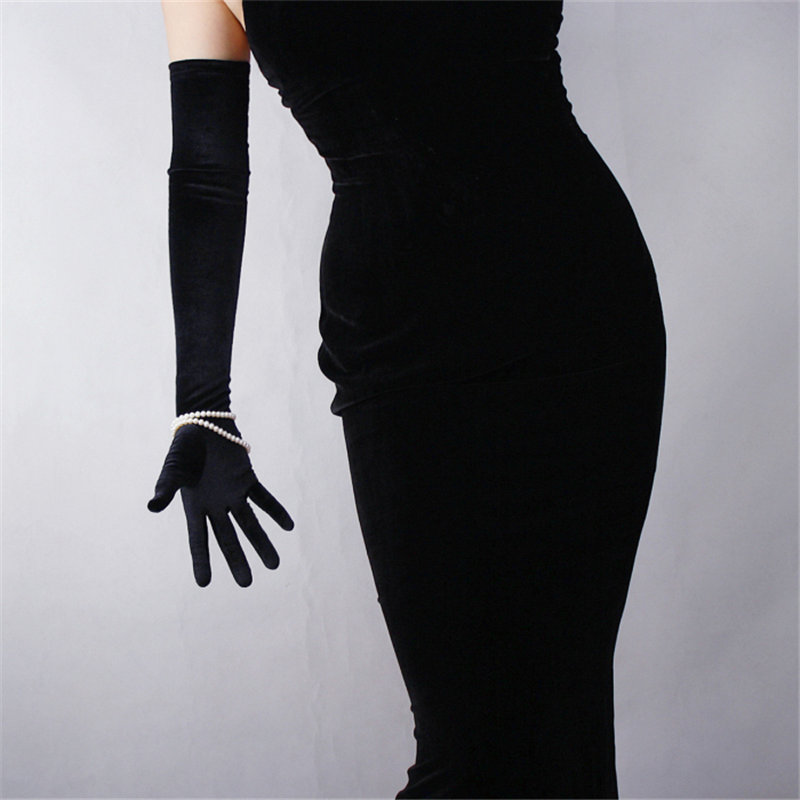 Black Velvet Women Gloves 60cm Long Vintage High Elasticity Evening vestido Gloves Fashion Elegant Lady Mittens TB20 in Women 39 s Gloves from Apparel Accessories