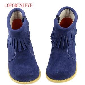 Image 5 - Зимние теплые ботинки для девочек, детская обувь для девочек, зимние ботинки для девочек, детские ботинки с бахромой, детские ботинки martin, теплая обувь