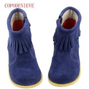 Image 5 - Botas cálidas de invierno para niñas, zapatos para niños, botas de nieve para niñas, botas con flecos para niñas, botas martin para niños, zapatos cálidos