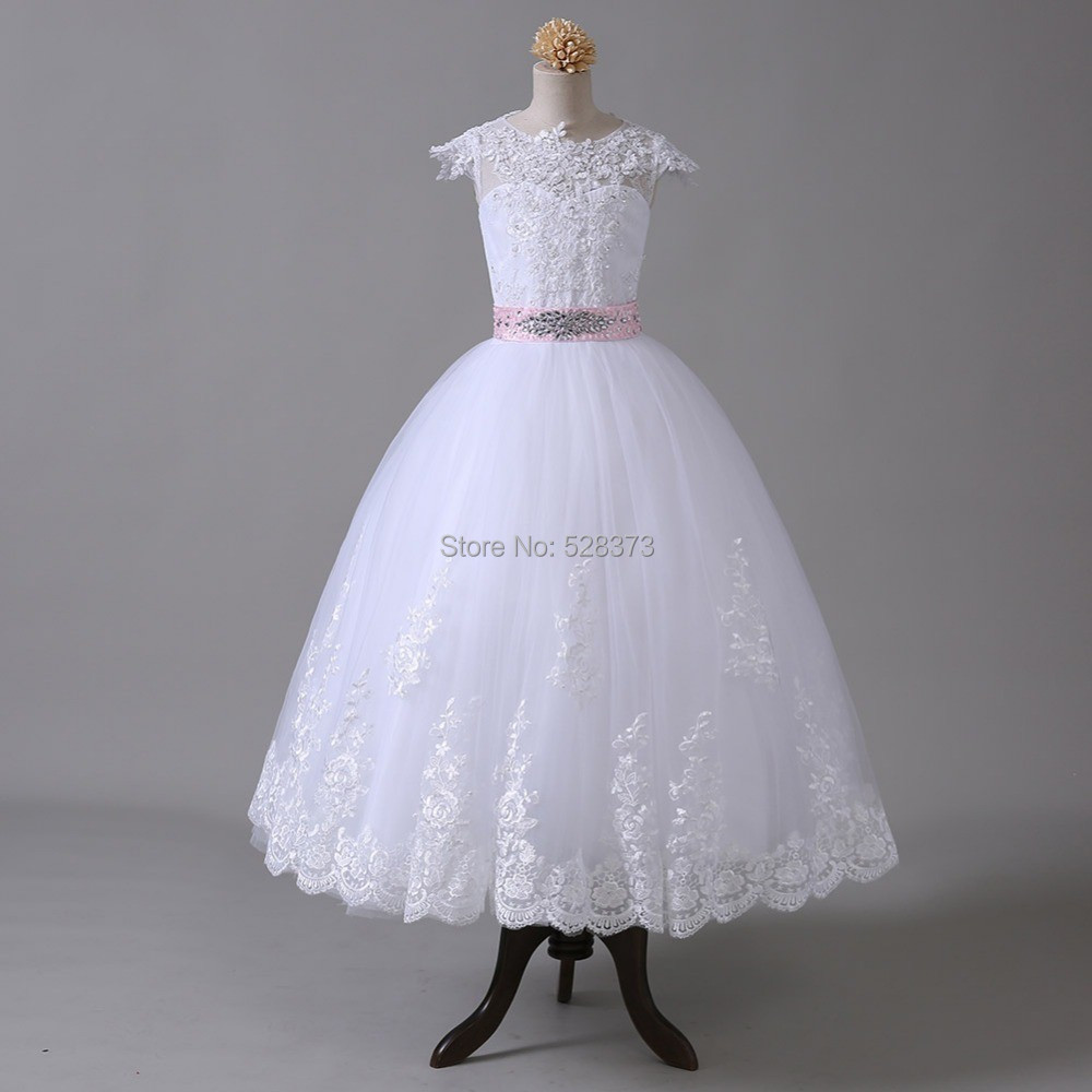 YNQNFS FG3 Real Photo Custom Made Cap Sleeves Ball Gown   Flower     Girl     Dress