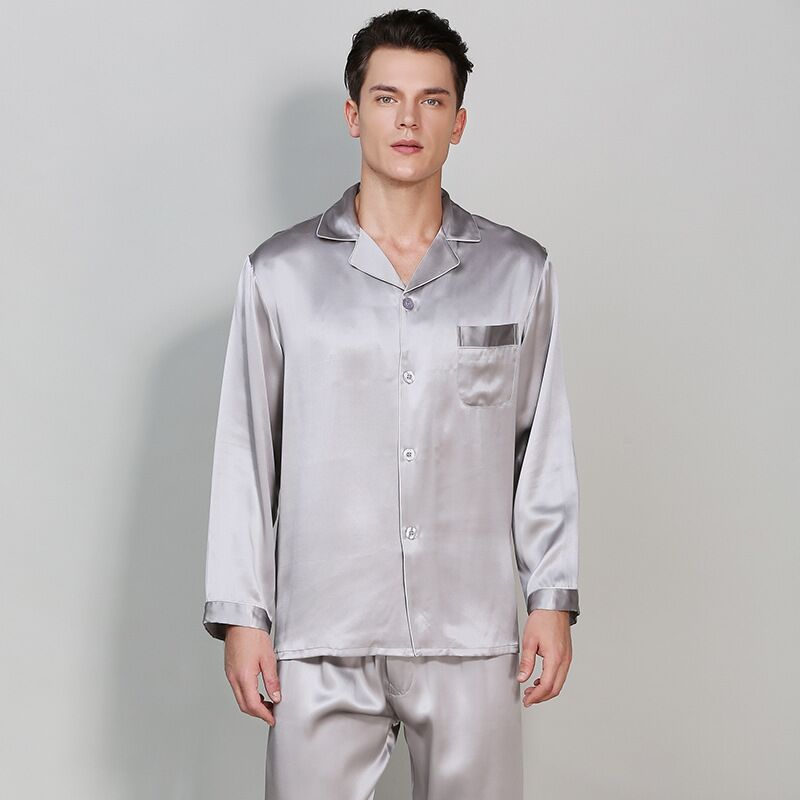 High Quality 100% Real Silk Men Pajamas Sets All Season 100% Mulberry Silk Long Sleeve Pyjama Homme Luxury Sleepwear