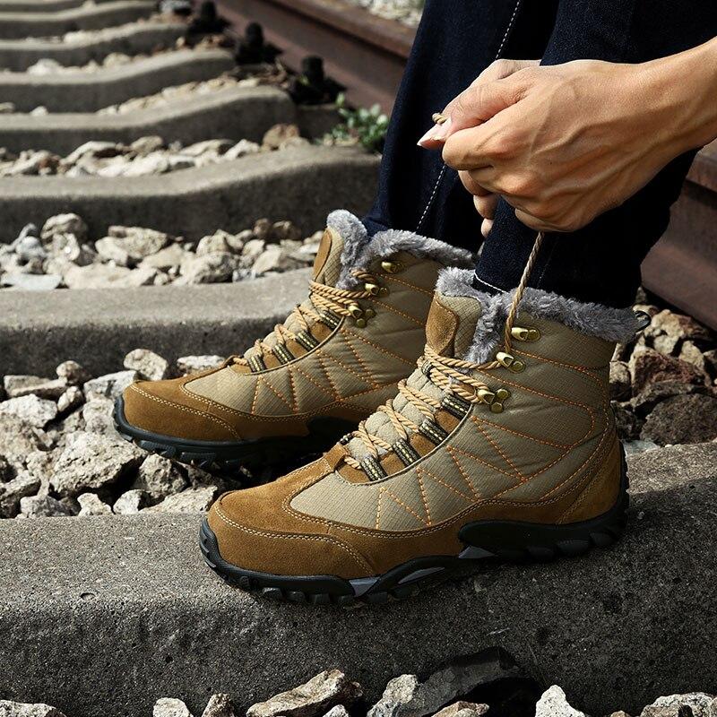 D'hiver Chaussures Peluche Courte Tissu Bleu Hiver Bottes marron De Fourrure Super Étanche Cheville Chaud Neige Avec Hommes q6HOfwH8